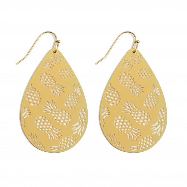 """Metal Filigree Pineapple Teardrop Earrings in a Worn Finish.  - Approximately 2"""" in Length"""