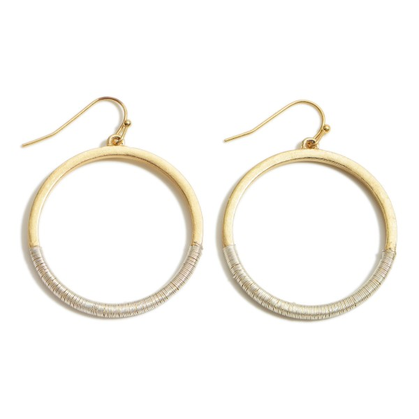 "Two-Tone Metal Circular Drop Earrings.   - Approximately 2"" Long"