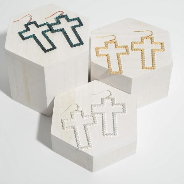 "Metal Dotted Cross Drop Earrings.  - Approximately 2.25"" in Length"