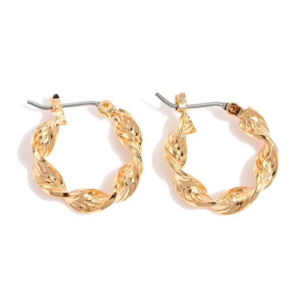 "Short Twisted Hoop Earrings.  - Approximately .5"" in Diameter"