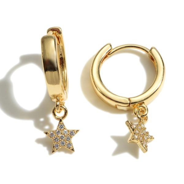 """Dainty Pave Star Huggie Hoop Earrings.  - .5"""" in Hoop Diameter - Approximately 1"""" in Length"""