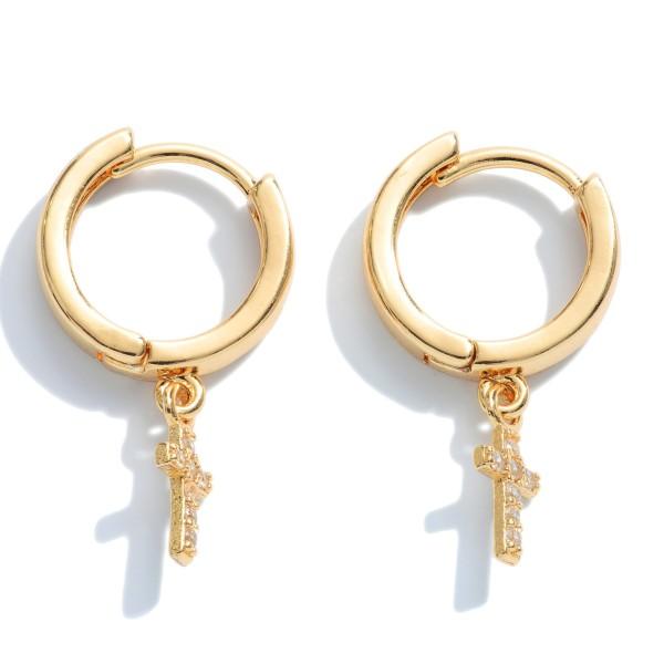 """Pave Cross Huggie Hoop Earrings.  - Approximately .5"""" in Hoop Diameter - Approximately 1"""" in Length"""