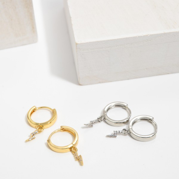 "Dainty Pave Lightning Bolt Huggie Hoop Earrings.  - .5"" in Hoop Diameter - Approximately 1"" in Length"