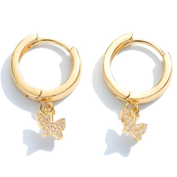 "Pave Butterfly Huggie Hoop Earrings.  - Approximately .5"" in Hoop Diameter - Approximately .75"" in Length"