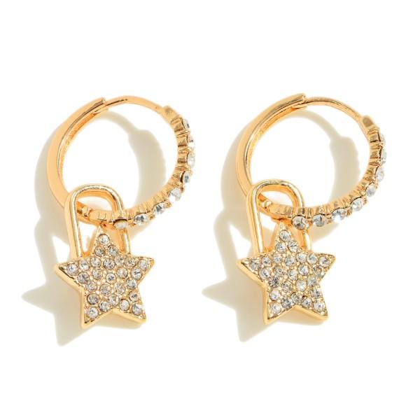 """Pave Star Padlock Huggie Hoop Earrings.  - Approximately .75"""" in Hoop Diameter - Approximately 1"""" in Length"""