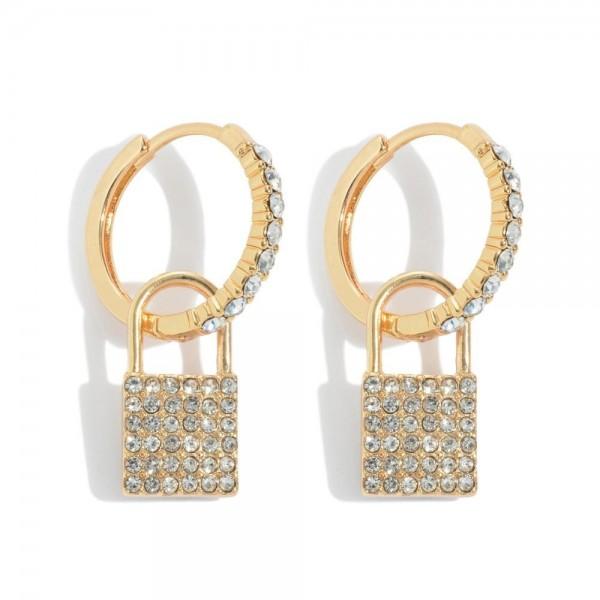 """Pave Lock Huggie Hoop Earrings.  - Approximately 1"""" in Length"""