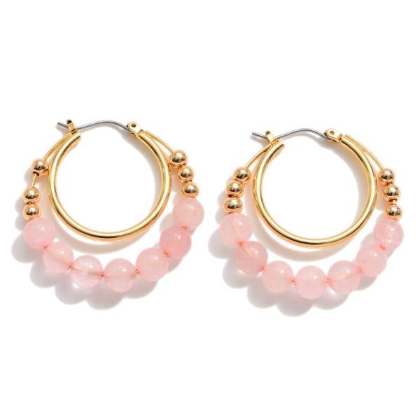 "Semi Precious Beaded Double Hoop Earrings.  - Approximately 1.25"" in Diameter"