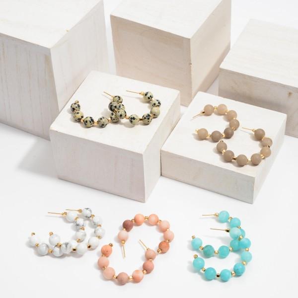 "Semi Precious Beaded Hoop Earrings.  - Bead Size: 7mm - Approximately 1.5"" in Diameter"