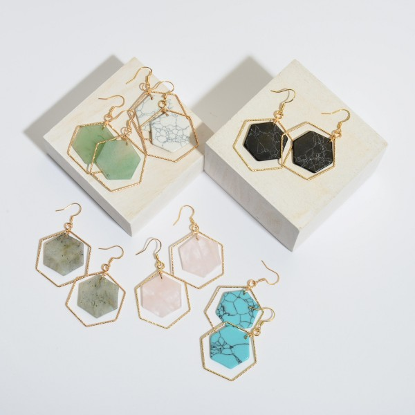 """Natural Stone Hexagon Nested Drop Earrings in Gold.  - Approximately 2"""" in Length"""
