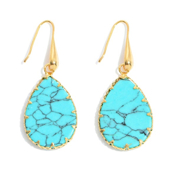 """Natural Stone Teardrop Earrings in Gold.  - Approximately 1.75"""" in Length"""