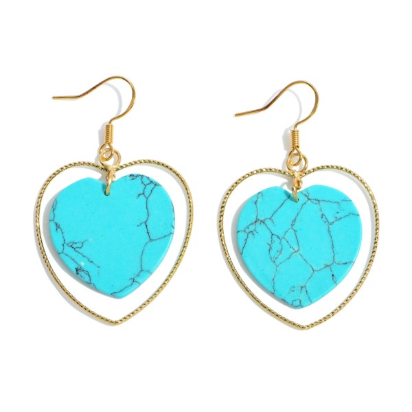 "Natural Stone Heart Nested Drop Earrings in Gold.  - Approximately 1.5"" in Length"