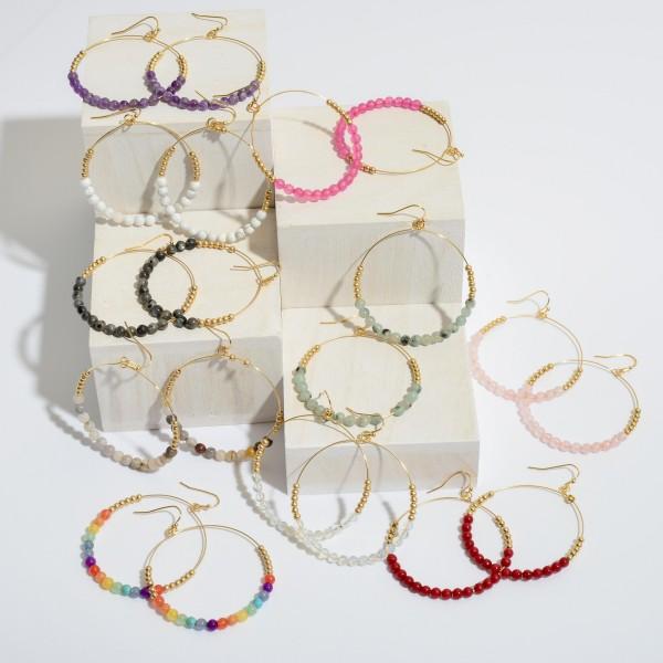 "Semi Precious Beaded Drop Earrings in Gold.  - Approximately 2"" x 2.5"""