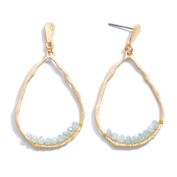 Wholesale inner Beaded Teardrop Earrings Gold