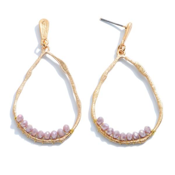 """Inner Beaded Teardrop Earrings in Gold.  - Approximately 2.25"""" in Length"""