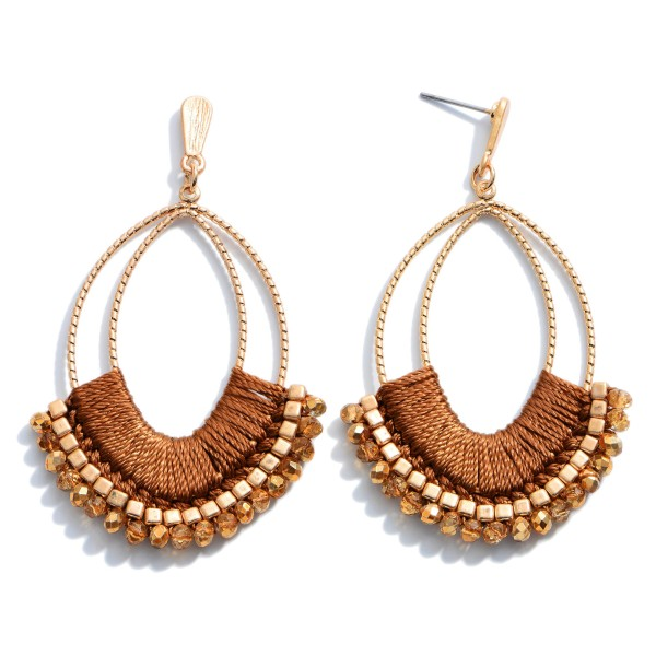 """Thread Wrapped Beaded Drop Earrings in Gold.  - Approximately 2.75"""" in Length"""