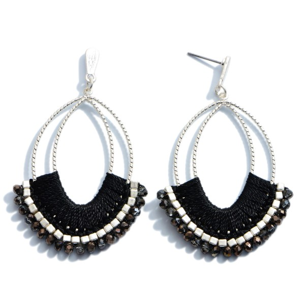 """Thread Wrapped Beaded Drop Earrings in Silver.  - Approximately 2.75"""" in Length"""