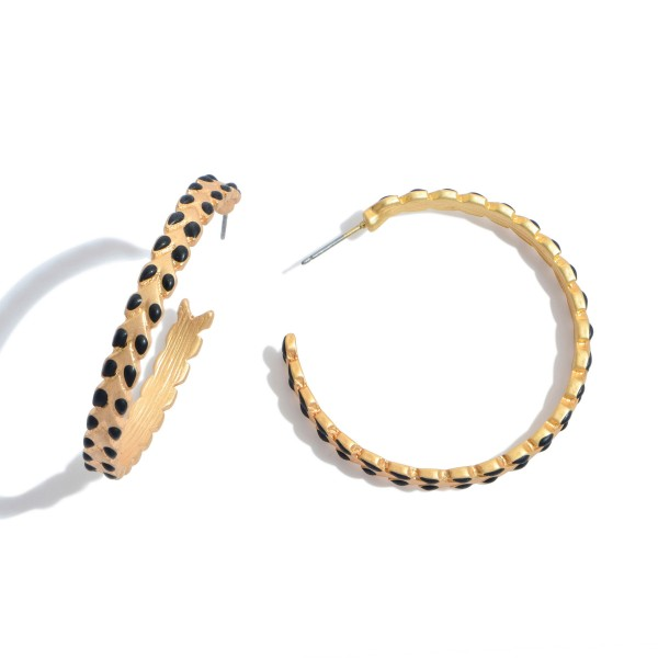 """Gold Hoop Earrings in a Matte Finish Featuring Coated Leaf Accents.  - Approximately 2"""" in Diameter"""