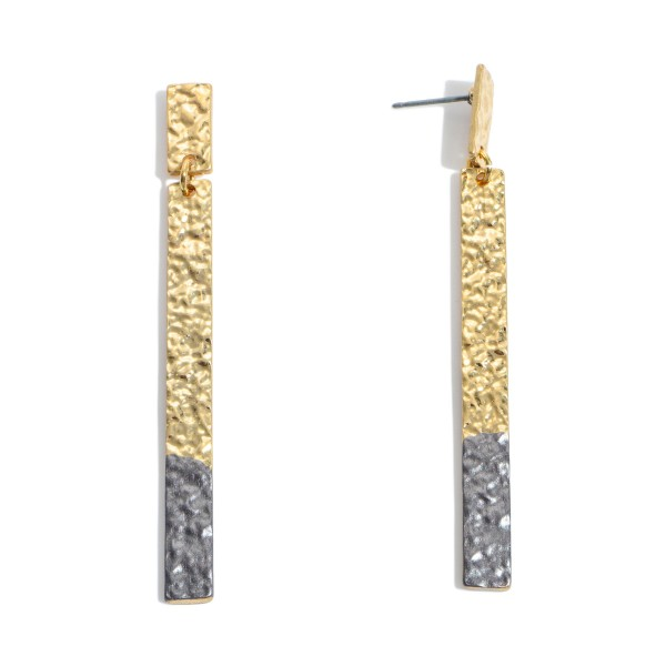 "Crinkled Gold Bar Drop Earrings Featuring Color Tip Accent.  - Approximately 2.75"" in Length"