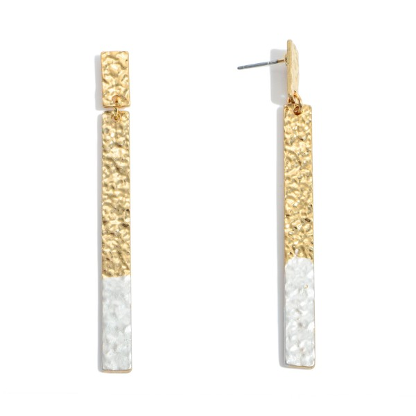 Wholesale crinkled Gold Bar Drop Earrings Color Tip Accent