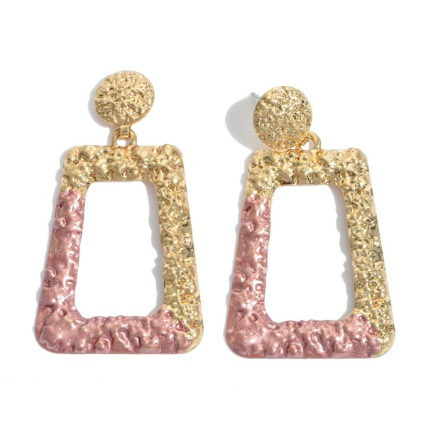 "Crinkled Gold Statement Earrings Featuring a Color Coat Accent.  - Approximately 2.5"" in Length"