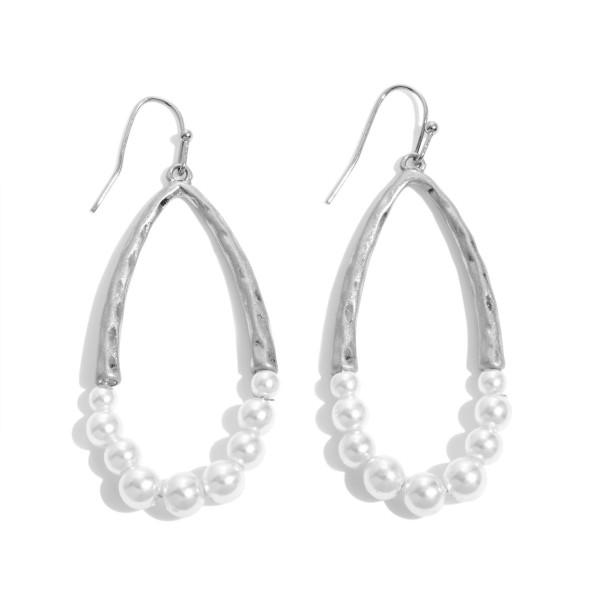 Wholesale half Pearl Beaded Teardrop Earrings Worn Finish