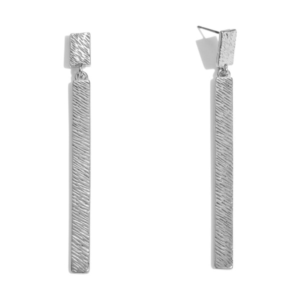 "Textured Metal Bar Drop Earrings.  - Approximately 2.75"" in Length"