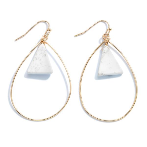 Wholesale semi Precious Nested Teardrop Earrings Gold
