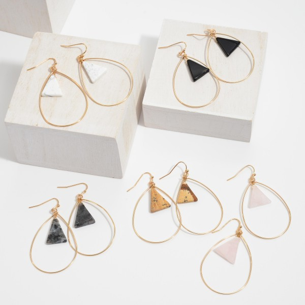 "Semi Precious Nested Teardrop Earrings in Gold.  - Approximately 2"" in Length"