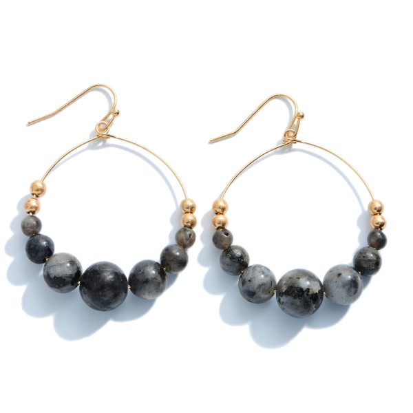"""Semi Precious Beaded Drop Earrings in Gold.  - Beads 2-8mm - Approximately 2"""" in Length"""