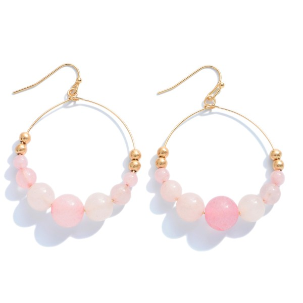 "Semi Precious Beaded Drop Earrings in Gold.  - Beads 2-8mm - Approximately 2"" in Length"