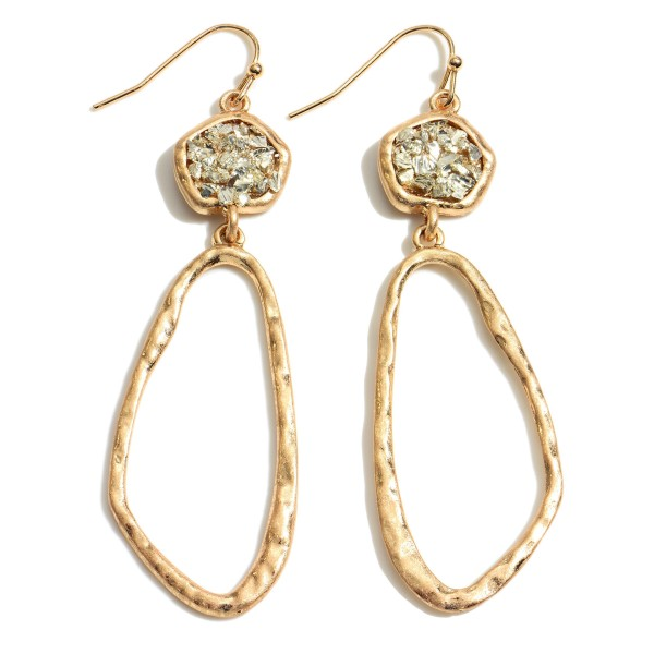 """Druzy Hammered Drop Earrings in Gold.  - Approximately 2.75"""" in Length"""