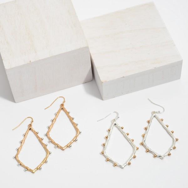 """Two Tone Moroccan Teardrop Earrings with Stud Accents in a Worn Finish.  - Approximately 2"""" in Length"""