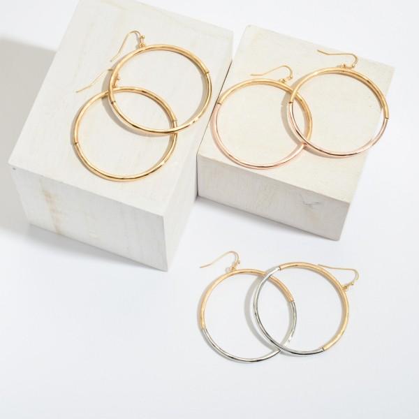 "Metal Ring Drop Earrings.  - Approximately 2"" x 2.5"""