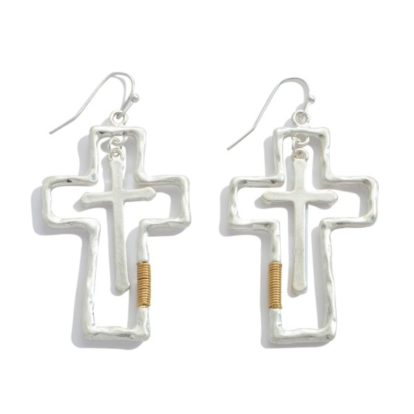 """Two Tone Cross Nested Drop Earrings.  - Approximately 2.5"""" in Length"""