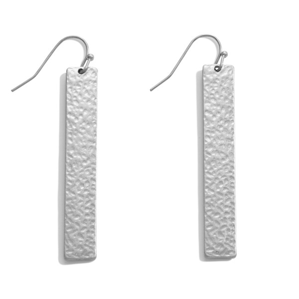 """Hammered Bar Drop Earrings.  - Approximately 2"""" in Length"""
