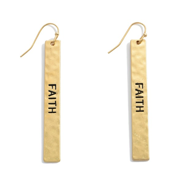 """Faith Hammered Bar Drop Earrings.  - Approximately 2.5"""" in Length"""