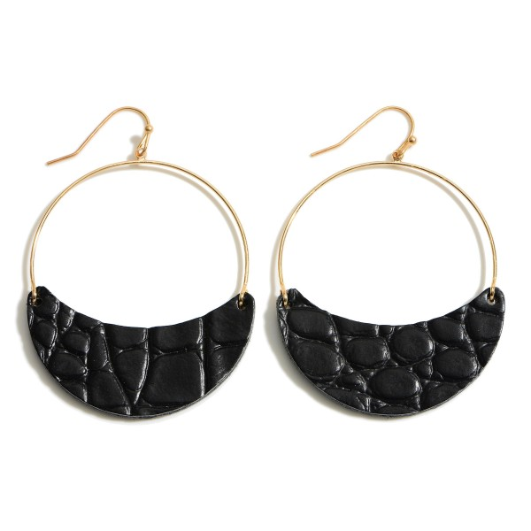 Wholesale faux Leather Animal Print Drop Earrings Gold