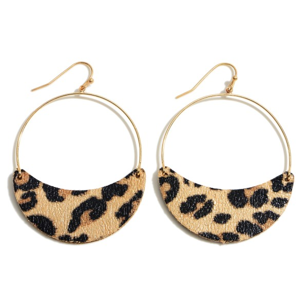 """Faux Leather Animal Print Drop Earrings in Gold.  - Approximately 2.25"""" in Length"""