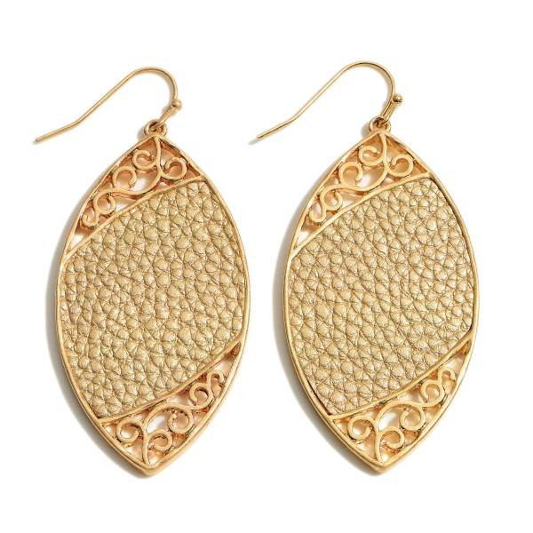 Wholesale metal Encased Faux Leather Animal Print Drop Earrings Gold