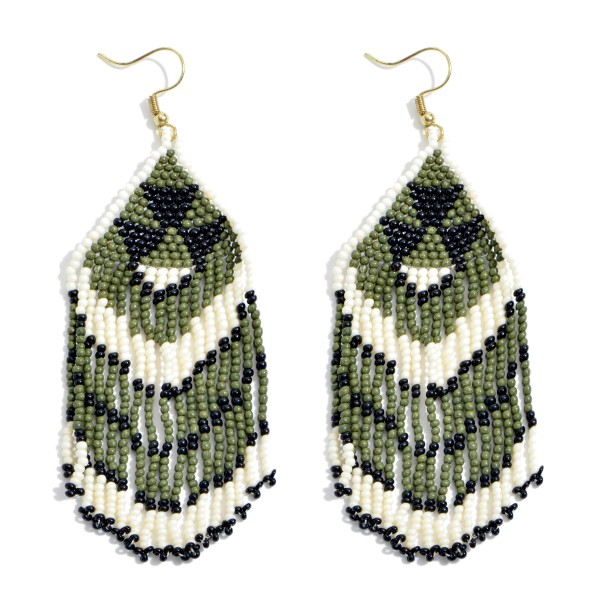 "Seed Beaded Tribal Tassel Statement Earrings.  - Approximately 3.5"" in Length"