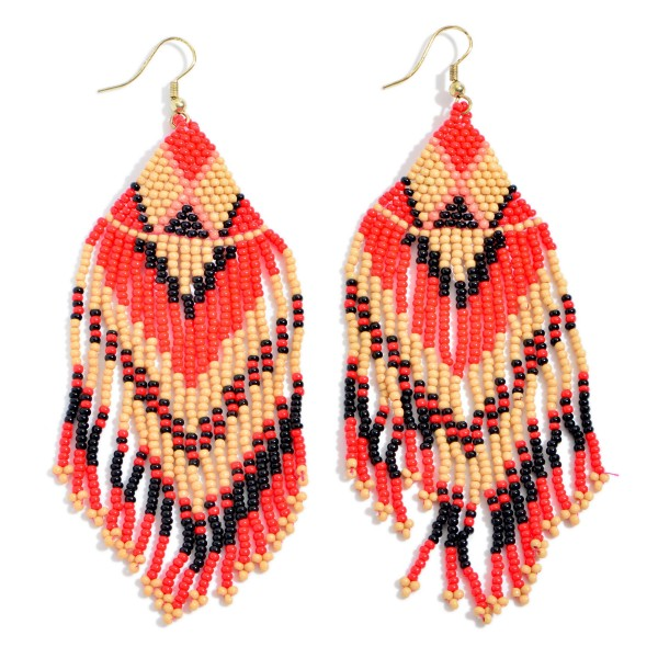 "Seed Beaded Tribal Tassel Statement Earrings.  - Approximately 4.5"" in Length"