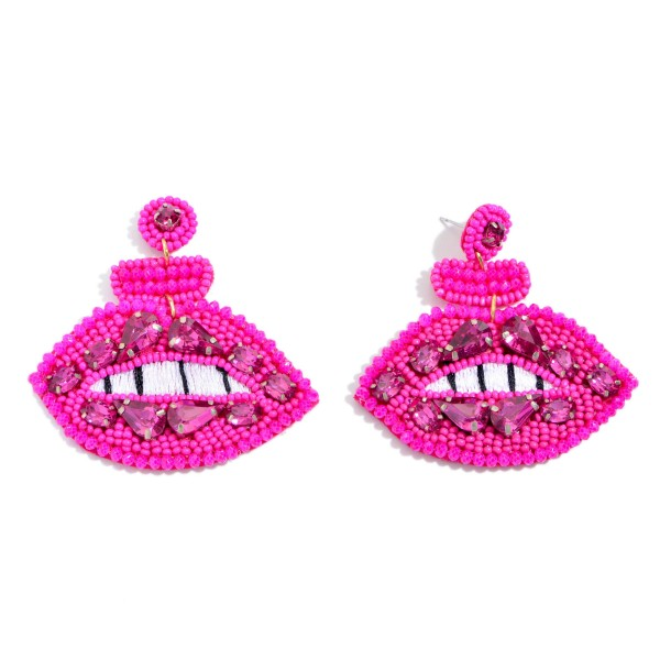 "Seed Beaded Lip Felt Statement Earrings Featuring Rhinestone Accents.  - Approximately 2.5"" x 2.5"""