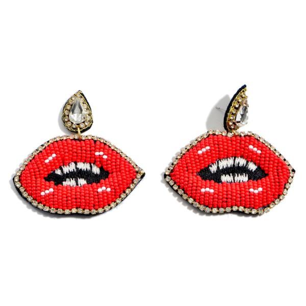 "Seed Beaded Rhinestone Lip Felt Statement Earrings.  - Approximately 2"" x 2.5"""