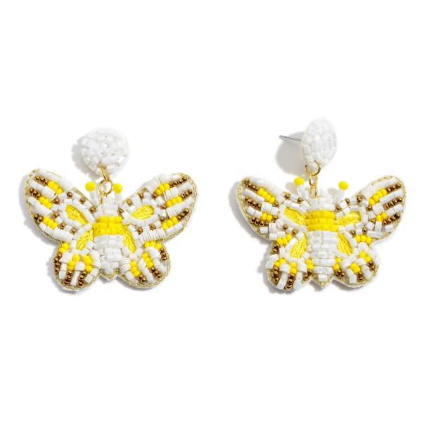 "Seed Beaded Felt Butterfly Statement Earrings.  - Approximately 2"" x 2"""