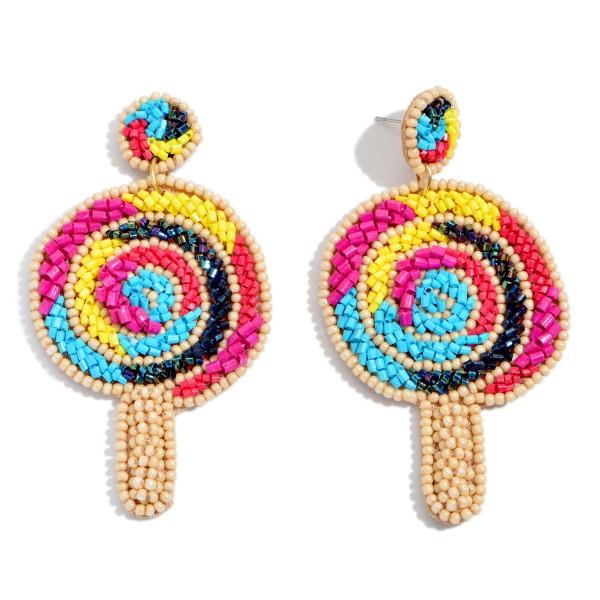 "Seed Beaded Lollipop Statement Earrings.  - Approximately 3"" in Length"