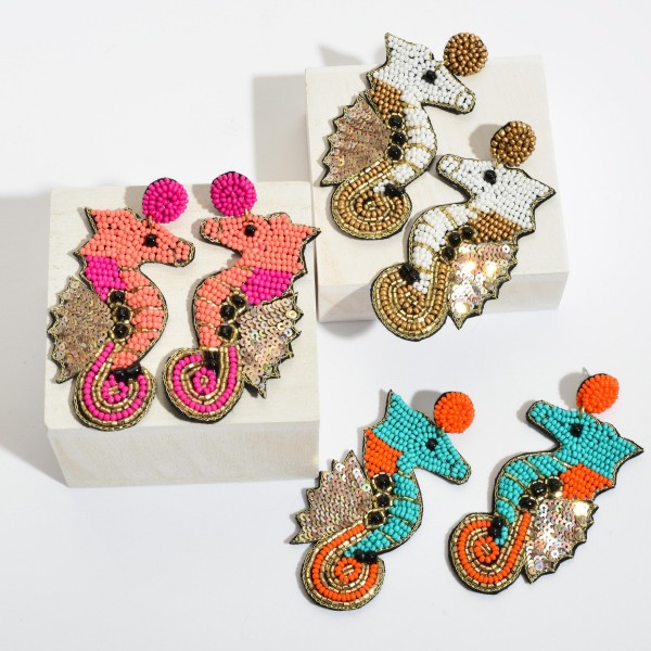 "Seed Beaded Sequin Felt Seahorse Statement Earrings.  - Approximately 3.5"" in Length"