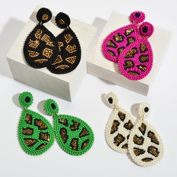 "Seed Beaded Felt Animal Print Teardrop Statement Earrings.  - Approximately 3"" in Length"