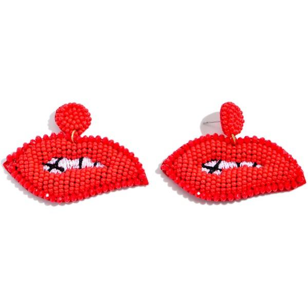 "Seed Beaded Lip Felt Statement Earrings.  - Approximately 1.5"" x 2"""