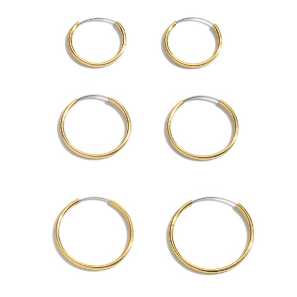 "3 PC Brass Hoop Earring Set in Gold.  - 3 Pair Per Set - Hoop Thickness: 1mm - Approximately .5"" - .75"" in Hoop Diameter"