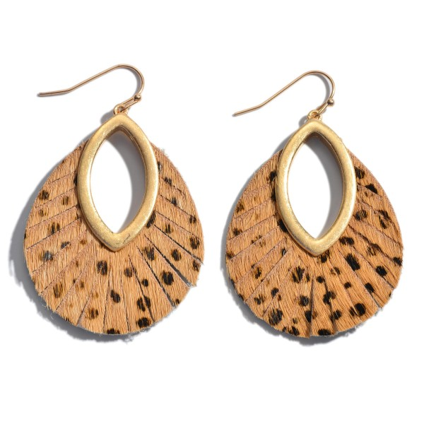 Wholesale genuine Leather Cheetah Print Cut Out Drop Earrings